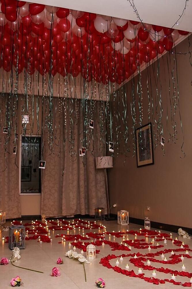 valentines day proposal room full of balloons proposal