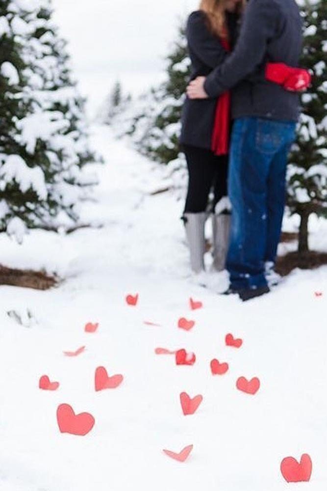 valentines day proposal winter engagement photo romantic