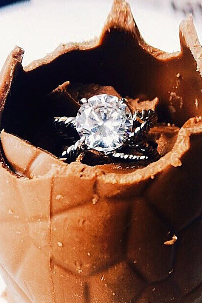 easter proposal ideas chocolate surprise engagement ring white gold