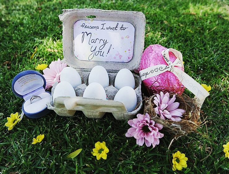 easter proposal ideas eggs surprise flowers