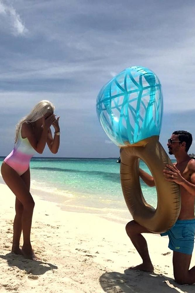 best beach proposal emotional and tricky proposing by a big ring