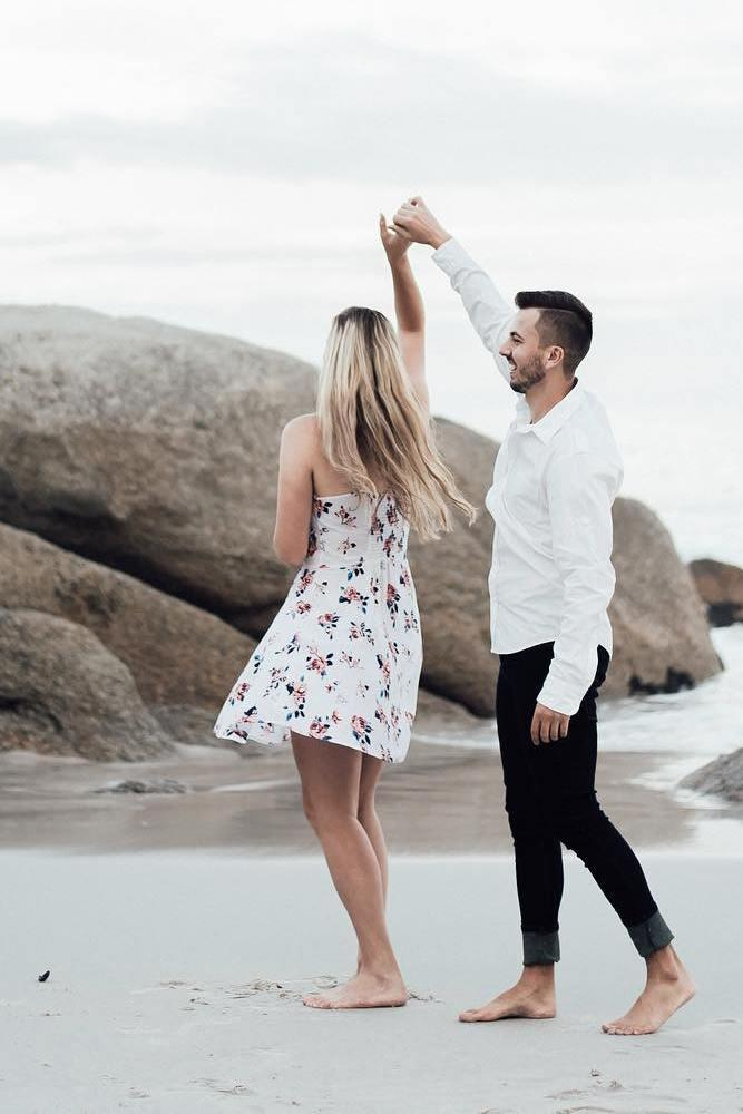 best beach proposal enticing dance on a seashore