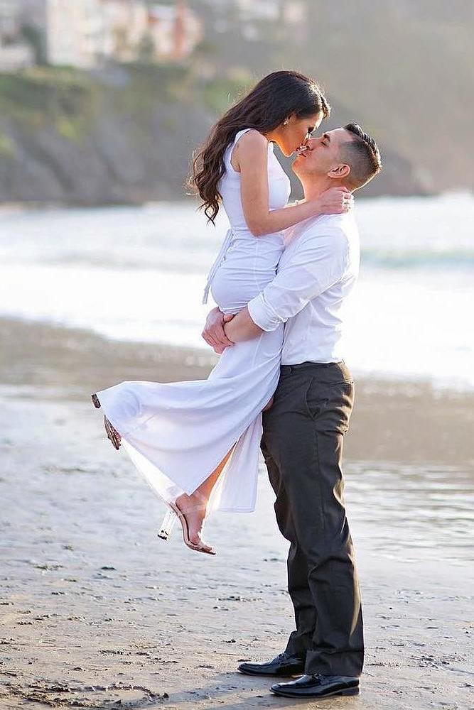 best beach proposal formal outfits for bride and groom