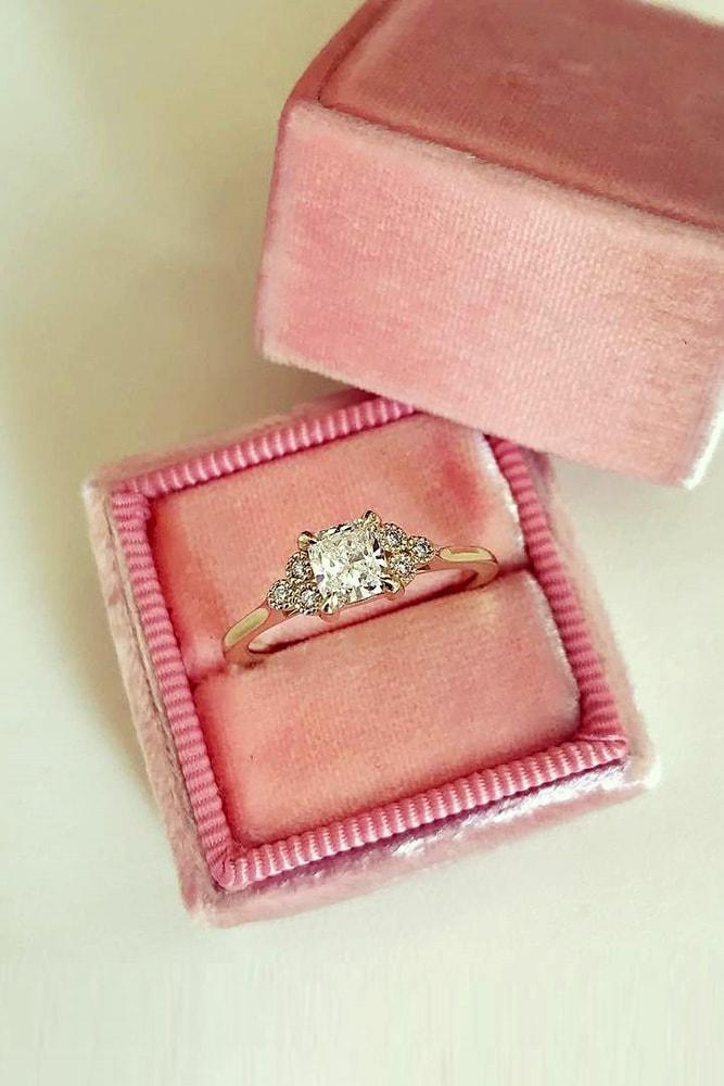 floral engagement rings princess cut diamond rose gold floral details pave band classic