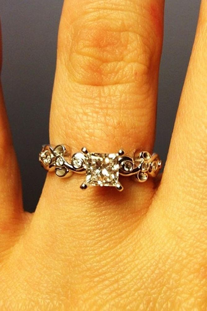floral engagement rings princess cut gemstone white gold floral details