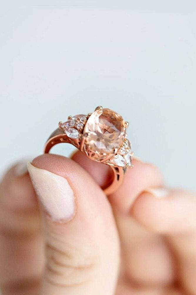 floral engagement rings rose gold oval cut pink morganite floral details amazing fairy tale ring