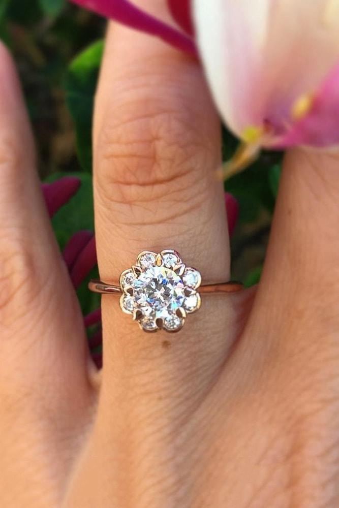 floral engagement rings rose gold round cut diamond classic