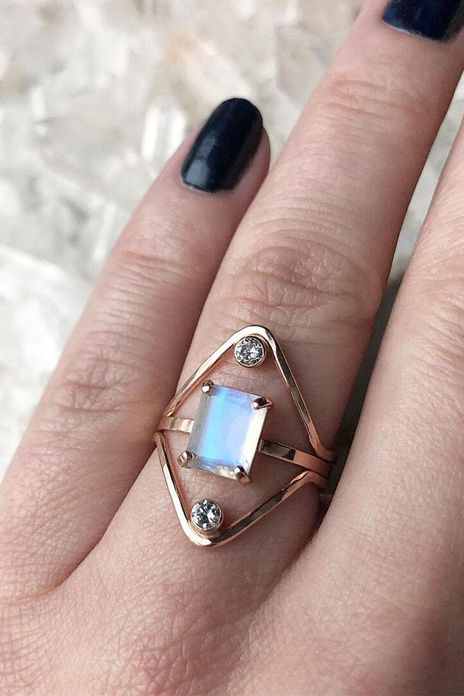 rose gold engagement rings modern ring princess cut gemstone solitaire unique design
