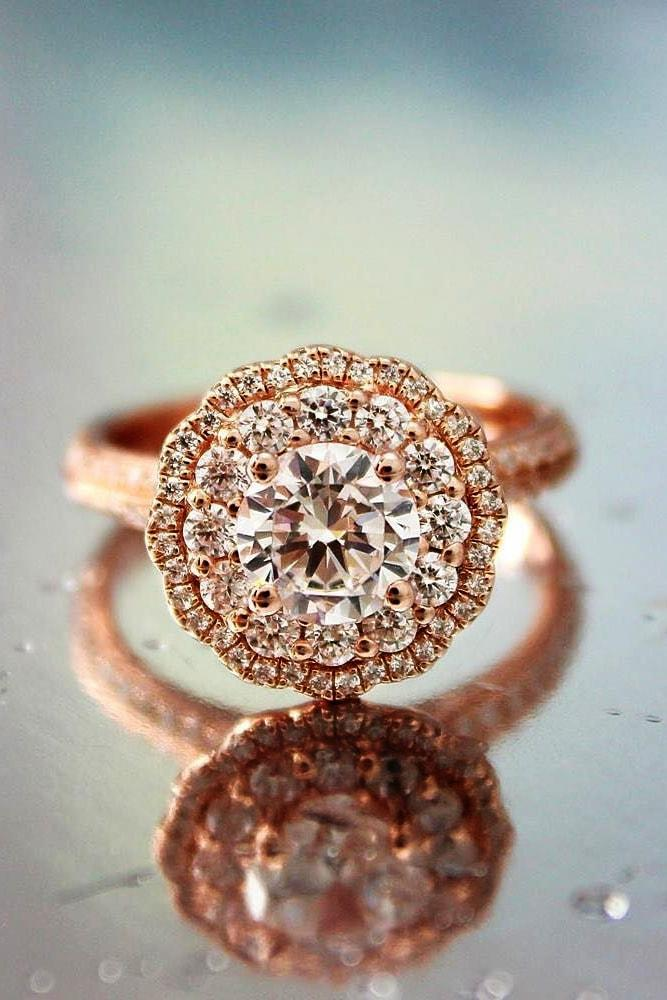 rose gold engagement rings rose gold round cut diamond halo pave band vintage