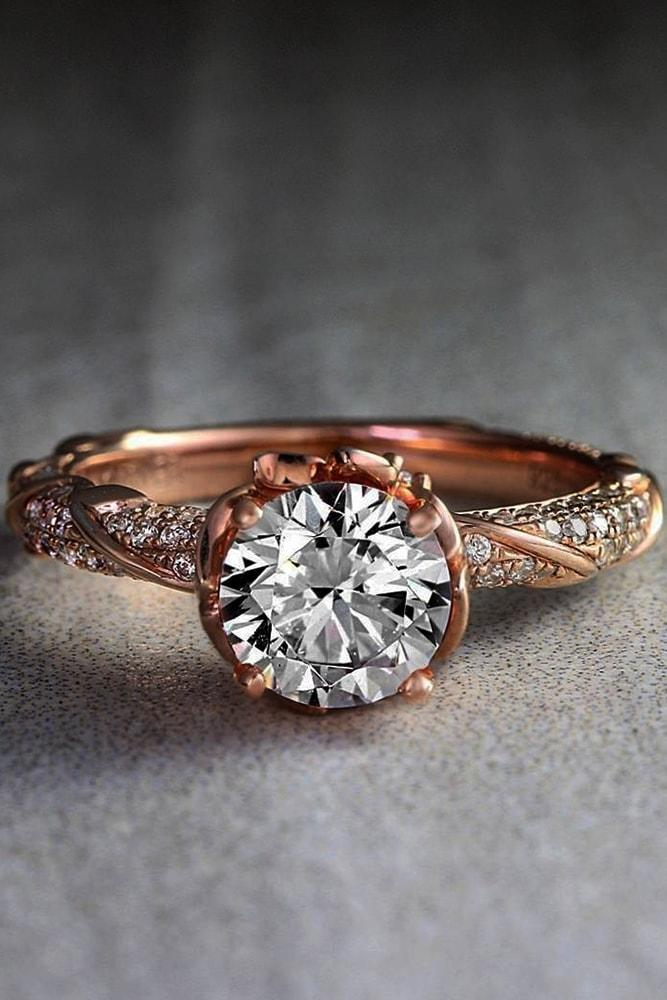 rose gold engagement rings rose gold round cut gemstone pave band vintage