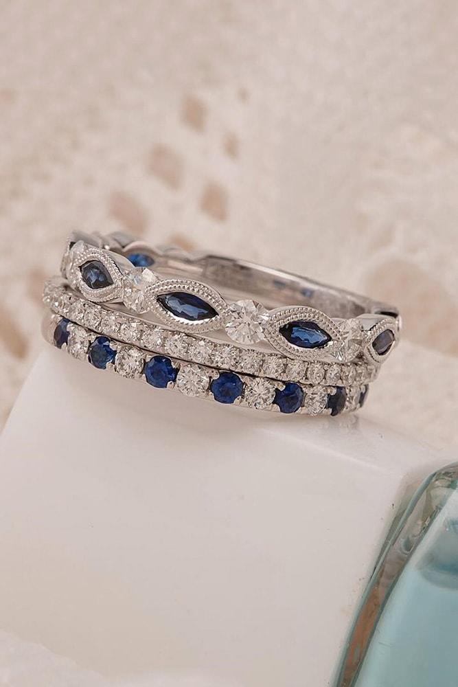 sapphire engagement rings white gold marquise cut round cut diamonds stackable eternal ring pave band sparkling