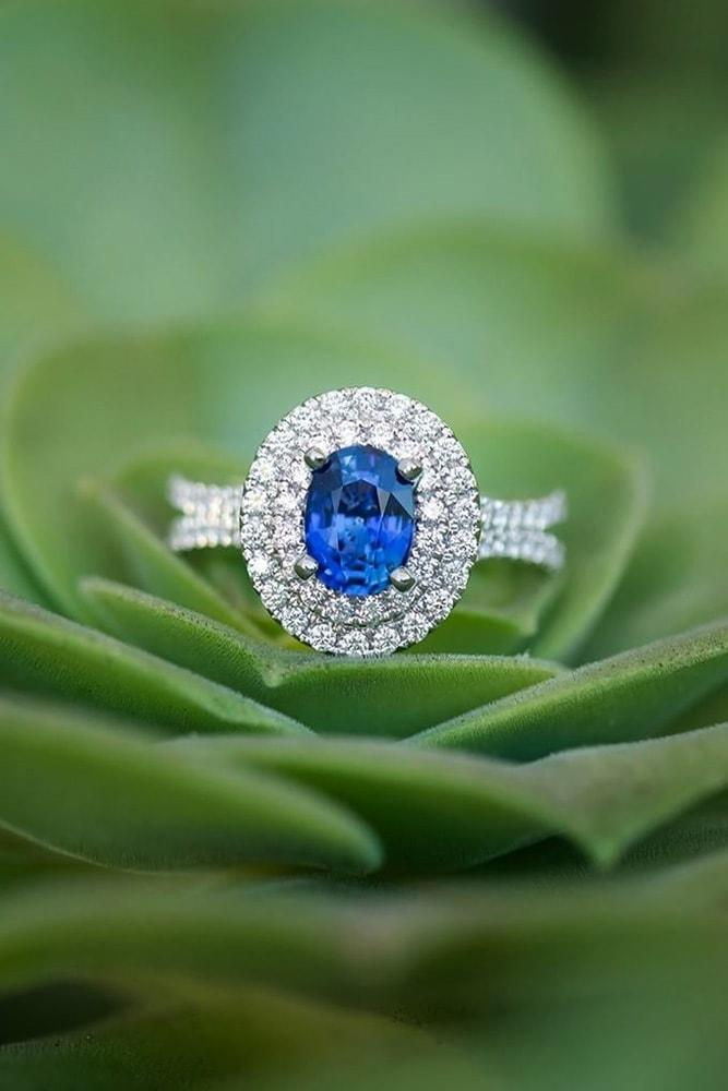 sapphire engagement rings white gold oval cut blue sapphire in double diamond halo split shank