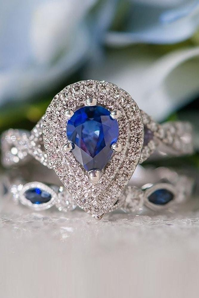 sapphire engagement rings white gold pear cut blue sapphire in double diamond halo twisted band wedding set with sapphires
