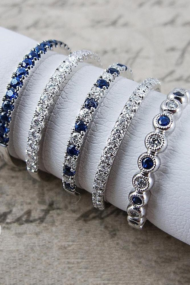 sapphire engagement rings white gold round cut stackable eternal ring sapphires pave band classic