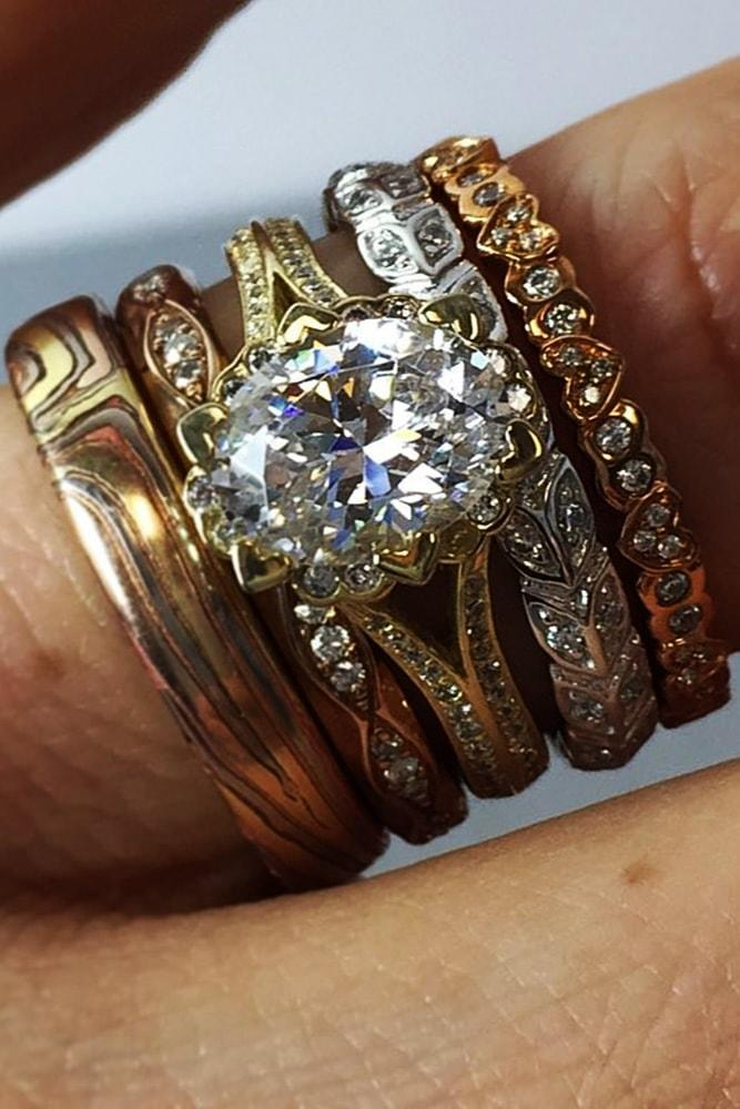 unique engagement rings mixed metals rose oval cut vintage halo floral pave band