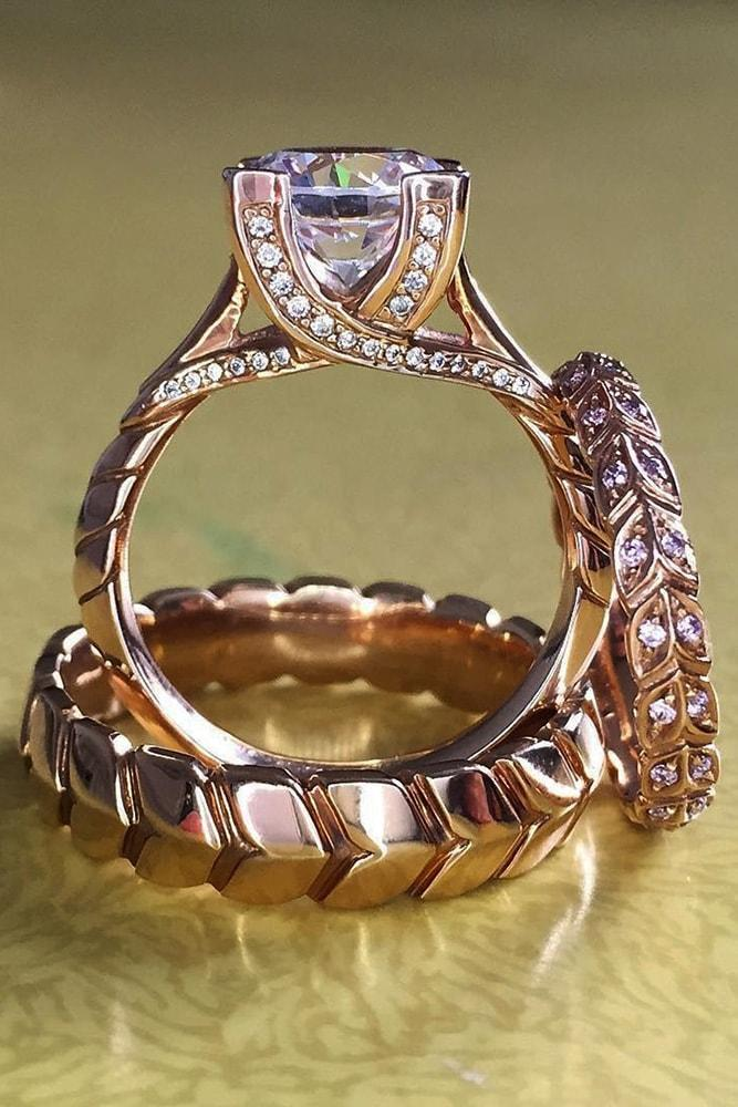 unique engagement rings rose gold floral details in pave band