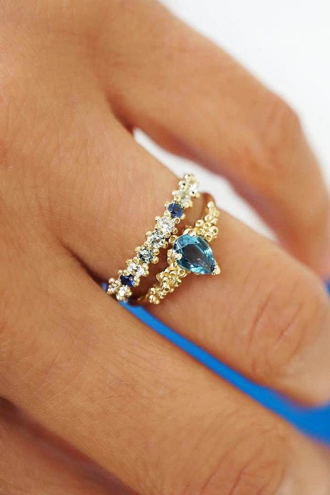 unique engagement rings yellow gold floral pave band unique blue gemstones