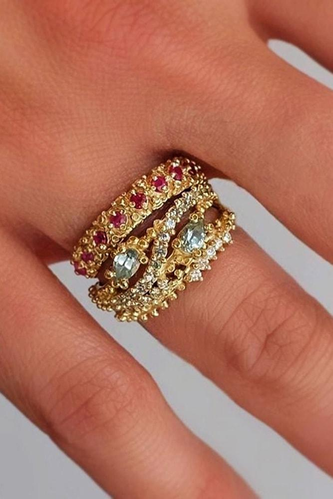 unique engagement rings yellow gold gemstones in pave band floral unique pave band