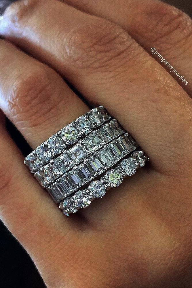 wedding rings set white gold eternal ring sets emerald cut cushion cut round cut diamonds sparkling