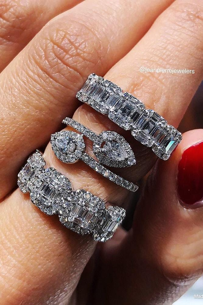 wedding rings set white gold eternal ring sets princess cut pear cut diamonds amazing