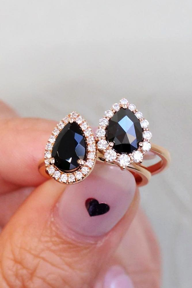 black diamond engagement rings halo engagement rings rose gold engagement rings pear cut rings