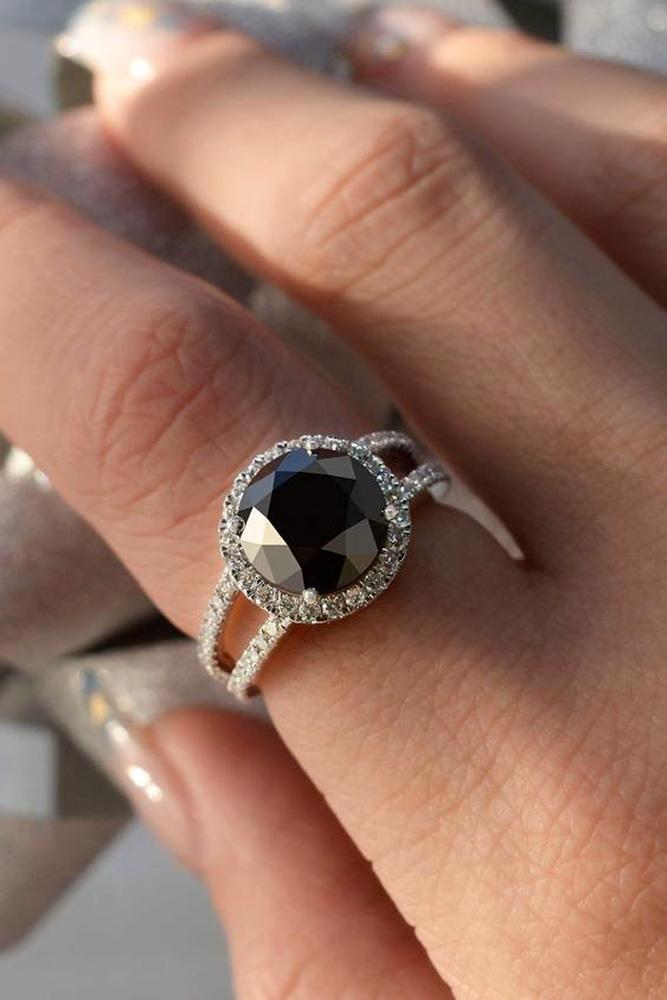 black diamond engagement rings halo engagement rings white gold engagement rings split shank engagement rings