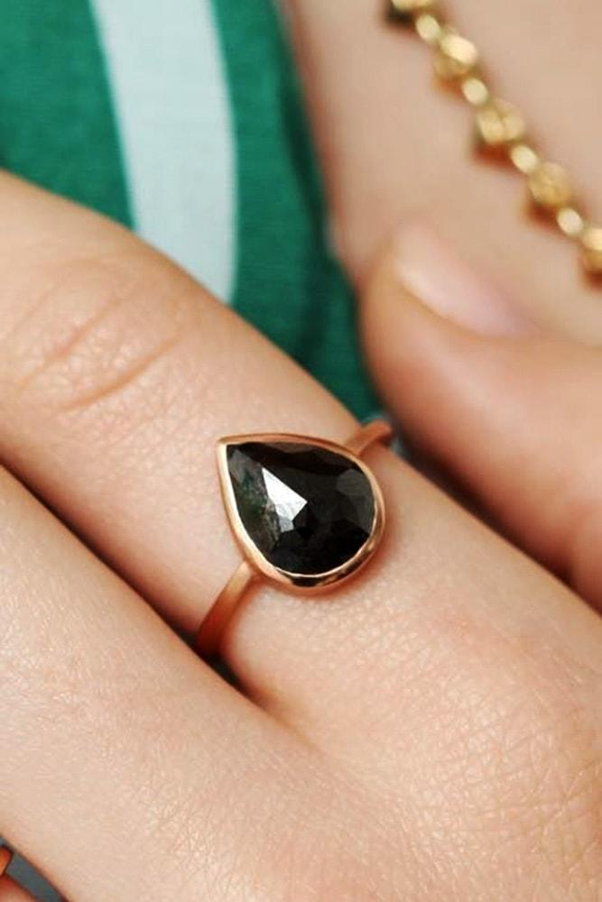black diamond engagement rings rose gold pear cut diamond solitaire engagement ring classic