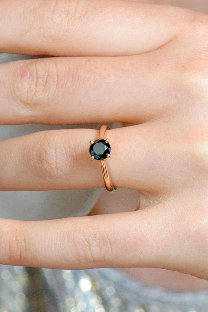 black diamond engagement rings rose gold round cut black diamond solitaire engagement ring classic simple