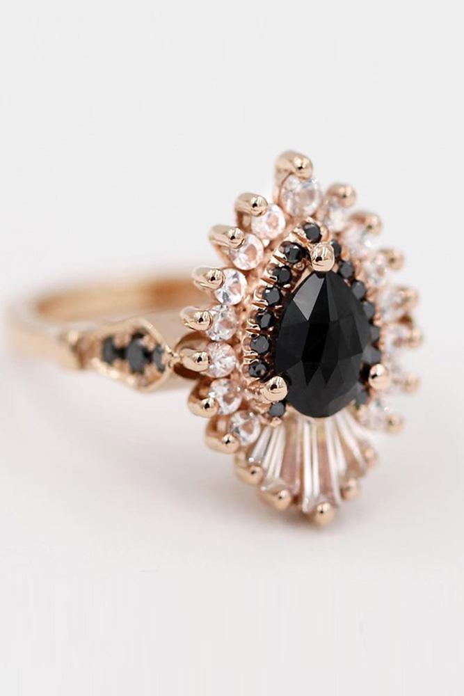 black diamond engagement rings unique engagement rings diamond engagement rings rose gold engagement rings pear shaped rings