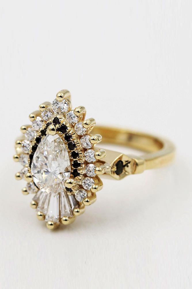 black diamond engagement rings unique engagement rings diamond engagement rings yellow gold engagement rings pear shaped rings