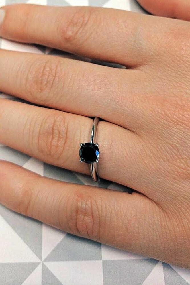 black diamond engagement rings white gold engagement ring diamond solitaire round diamond ring classic ring