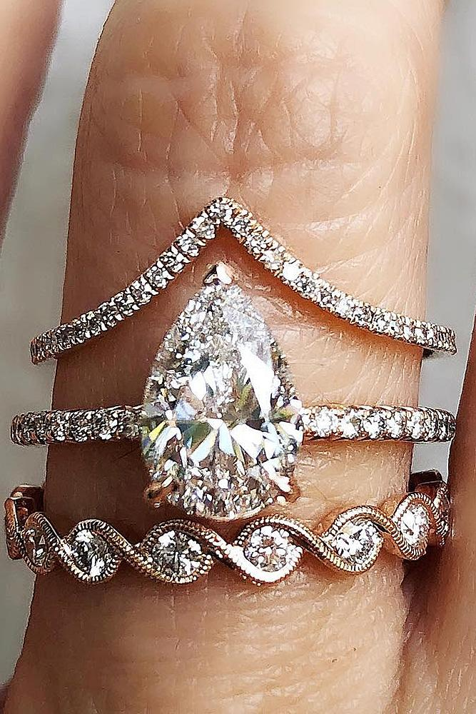 bridal sets pear cut solitaire diamond gold pave unique band
