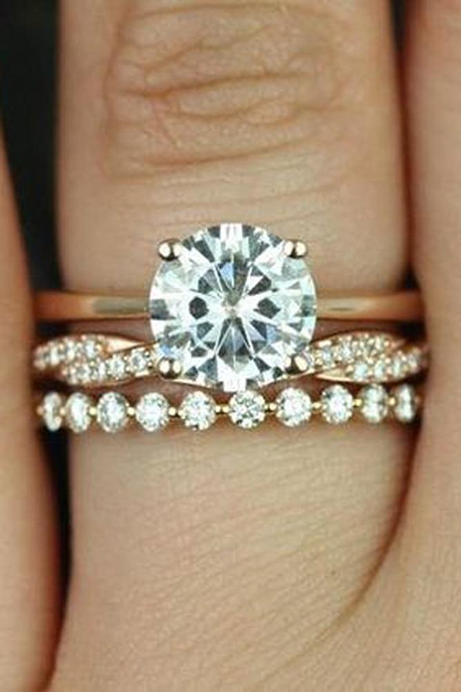 bridal sets ring rose gold with round cut diamond in pave band