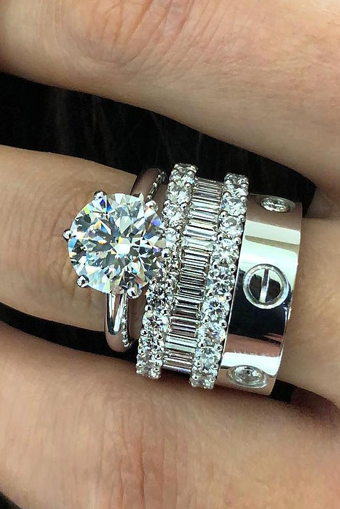 bridal sets ring white gold with one round shaped diamond classic amazing