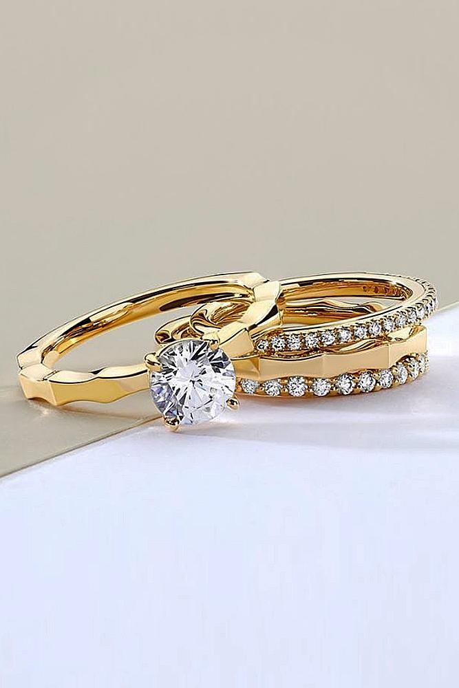 bridal sets ring yellow gold with round cut diamond classic