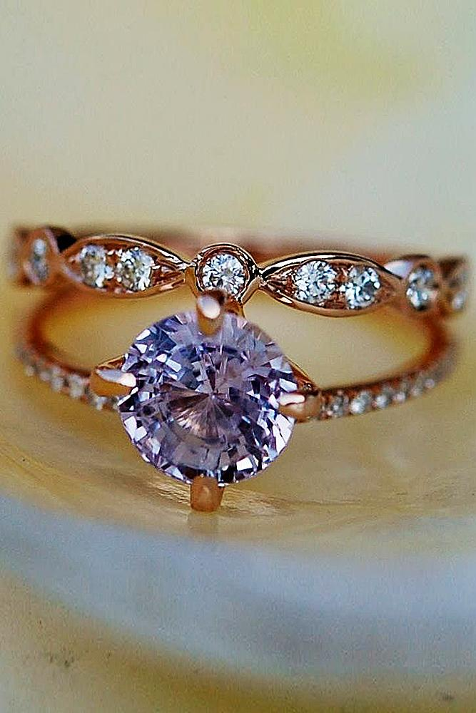 bridal sets rose gold classic in pave band with sapphire
