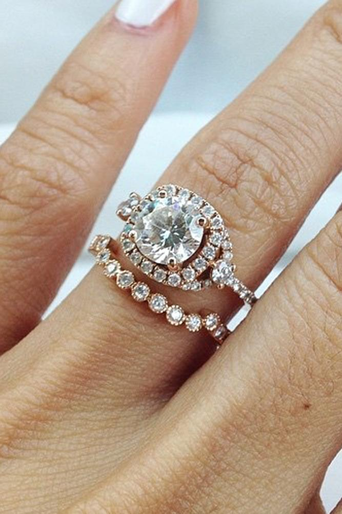 bridal sets rose gold diamond halo ring with round cut diamond
