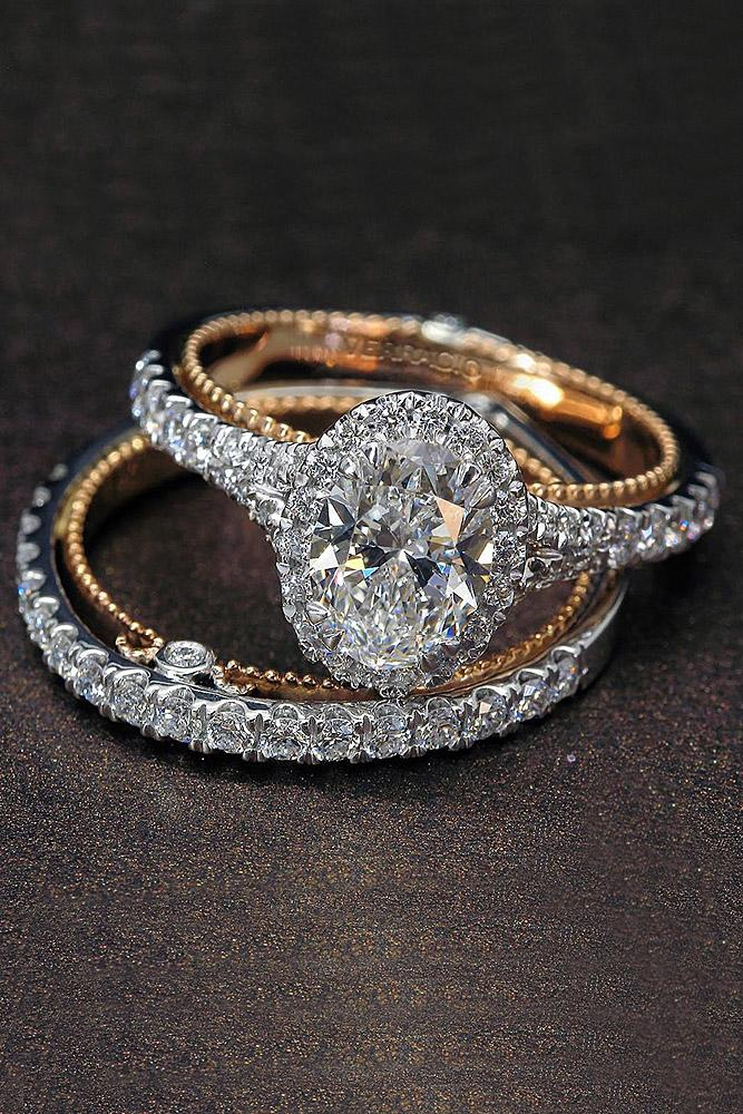 bridal sets rose gold oval diamond halo unique pave band amazing
