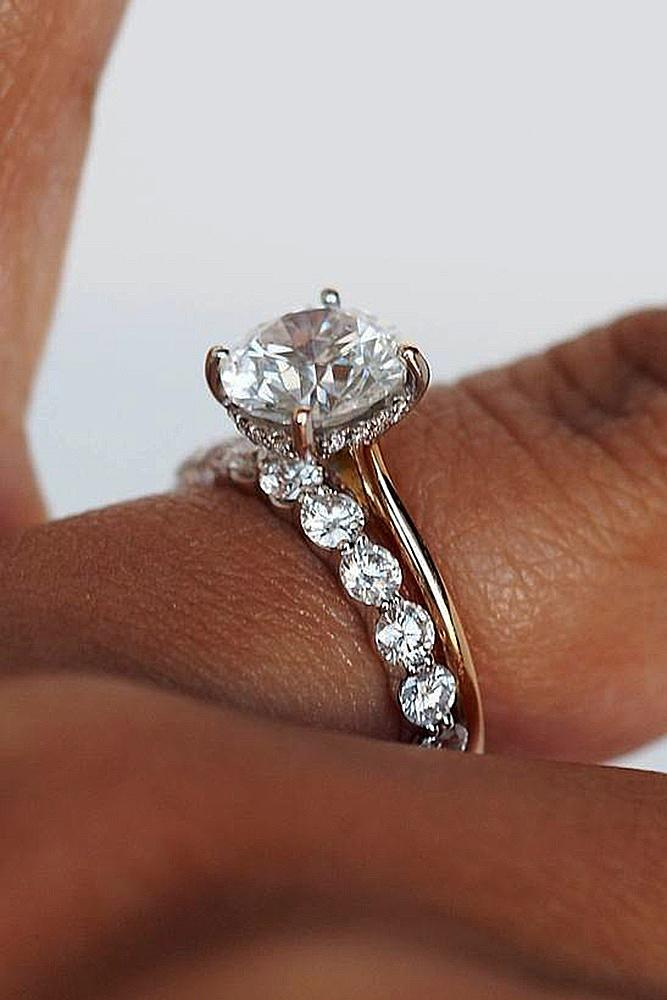 bridal sets rose gold round cut center stone diamond ring pave band
