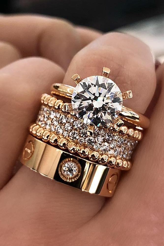 bridal sets rose gold with bright round diamonds amazing