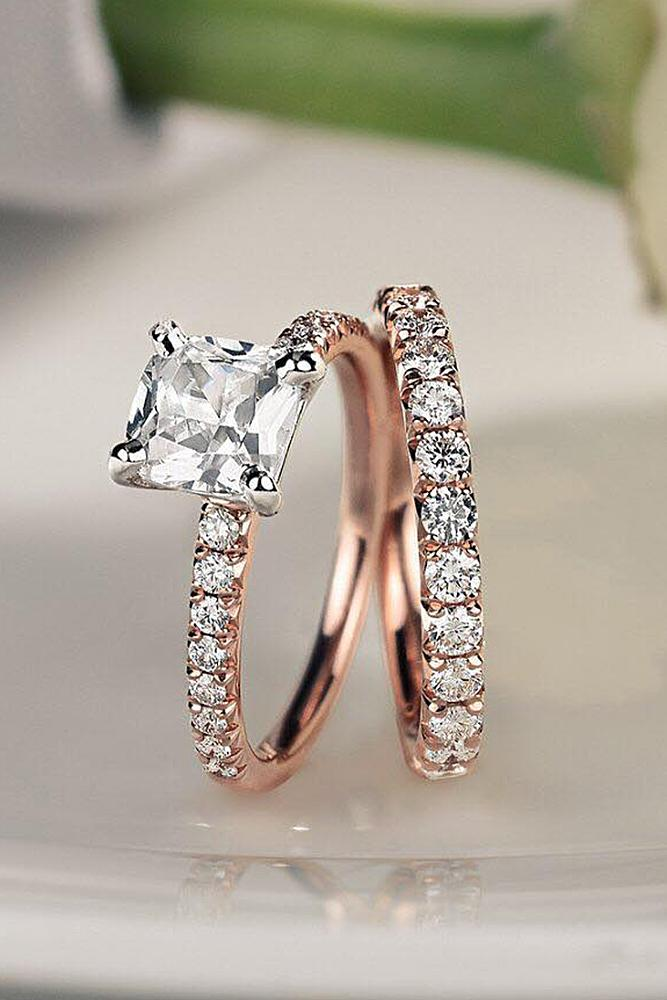 bridal sets rose gold with diamonds pave band simple princess cut