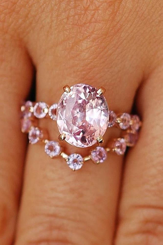 bridal sets rose gold with oval pink sapphire unique pave band