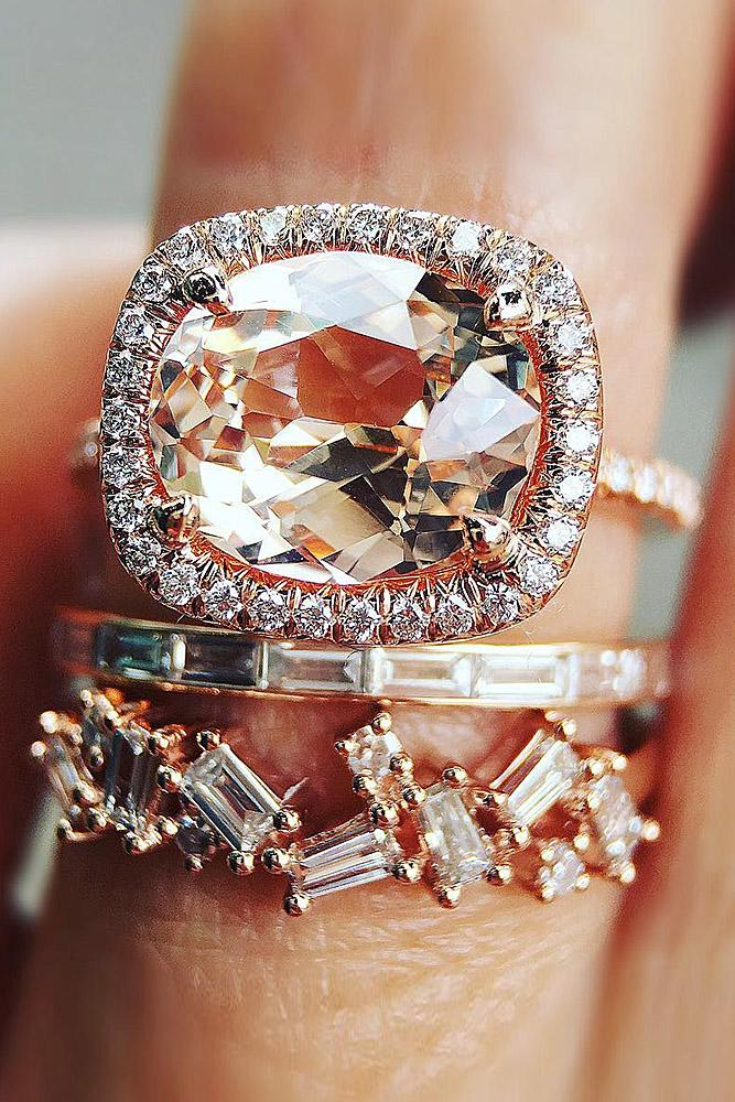 bridal sets rose gold with pink sapphire cushion shape halo in pave band