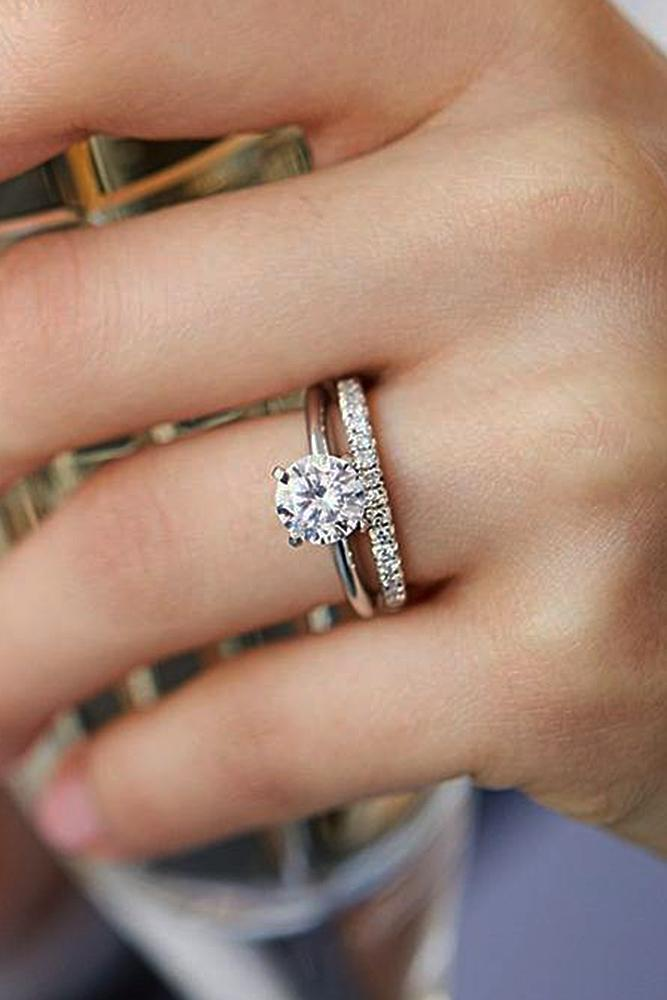 bridal sets white gold with round diamond classic