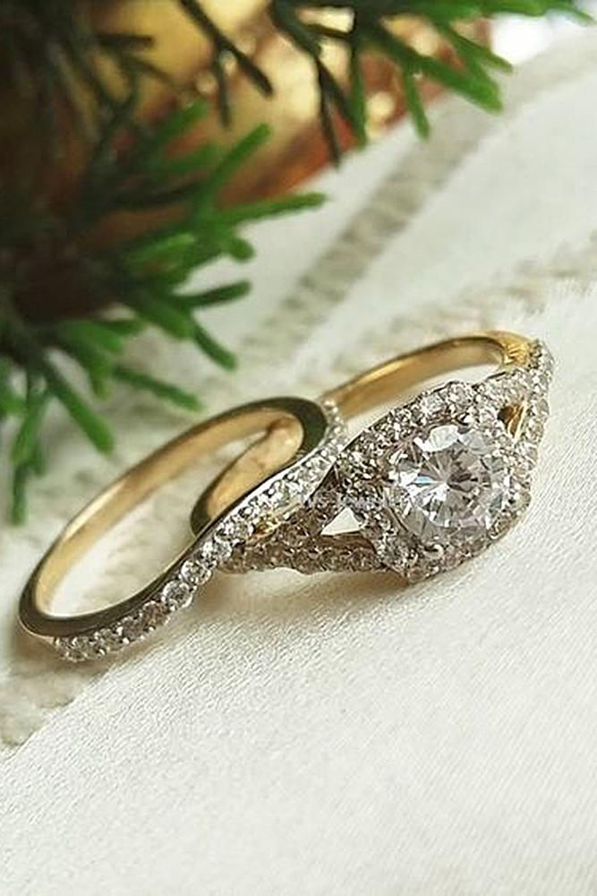 bridal sets yellow gold round diamond halo unique pave band brilliant