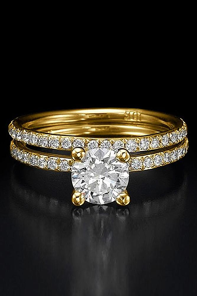bridal sets yellow gold round diamond pave band brilliant
