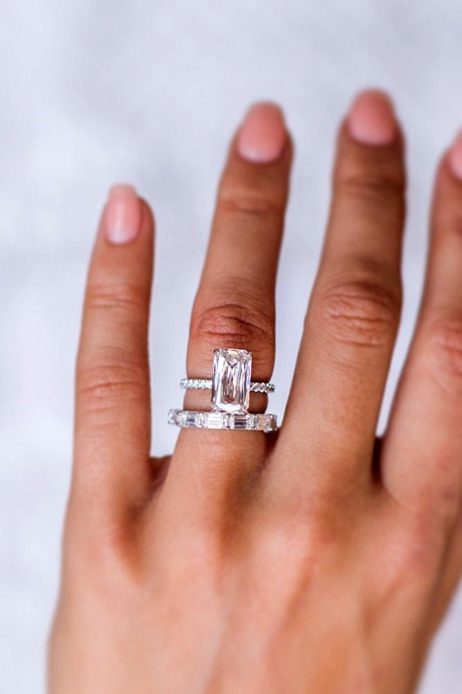cheap engagement rings emerald cut morganite engagement ring sets white gold pave band