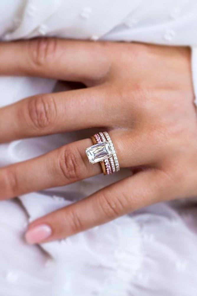cheap engagement rings engagement ring sets rose gold and white gold emerald cut morganite solitaire classic engagement rings pave band