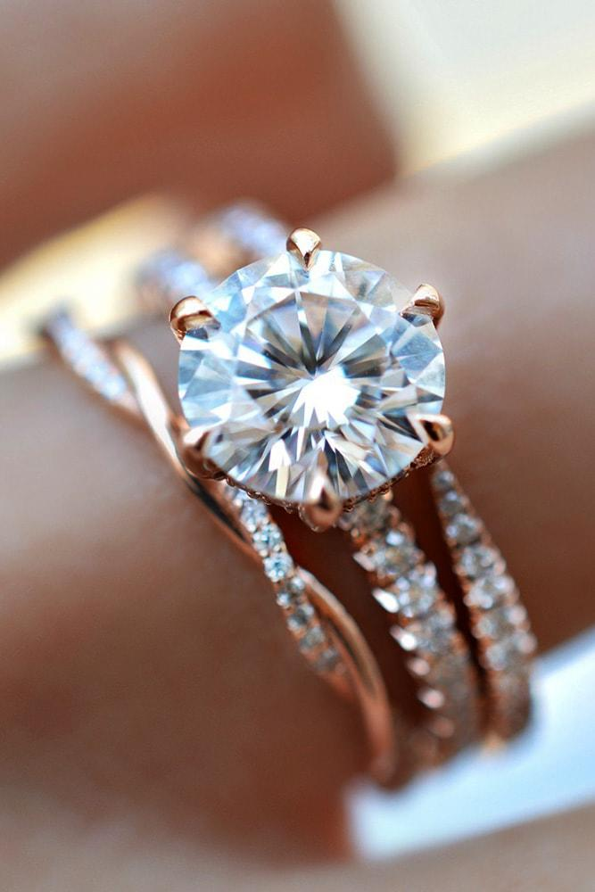 cheap engagement rings rose gold round cut moissanite solitaire engagement rings in sets twisted band