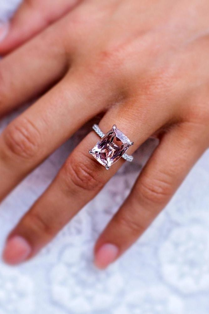 cheap engagement rings white gold emerald cut morganite solitaire classic engagement rings pave band classic